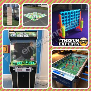 Giant Jenga, Giant Connect 4, Giant Snakes and Ladders, Retro Arcade Game & Foosball