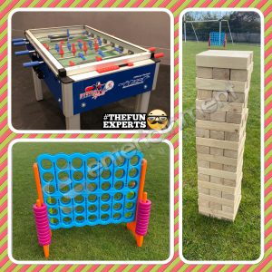 Indoor Games Package hire Dublin, Ireland Foosball, Giant Jenga & Giant Connect 4