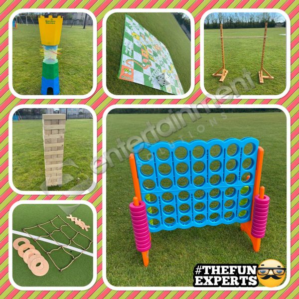 Outdoor Games Package hire Giant Jenga, giant Connect 4, giant limbo, giant kerplunk, giant X's & O's and giant Snakes & Ladders